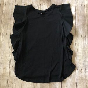NWT women's Who What Wear black ruffle Tee